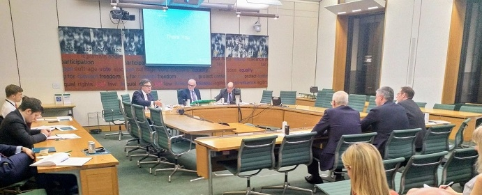Sir Nicholas Soames attends meeting of MPs with constituencies near Gatwick Airport.