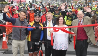 Sir Nicholas starting the annual Greater Haywards Heath Bike Ride on Sunday, 15th April, 2018 (Photo courtesy of the Mid Sussex Times)